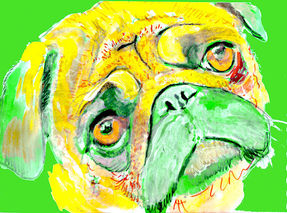 Pug Dog Painting,  Print of Original Art 29.7 x 42.0cm, 11.69 x 16.53 inches Yellow/Green colorful Pug dog art - pug painting gift idea - Dog portraits by Oscar Jetson
