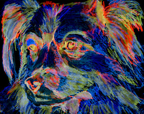 Papillon Dog Painting Poster Print hand signed choice of sizes  Funky glowing colors Papillon dog art gift idea - Dog portraits by Oscar Jetson