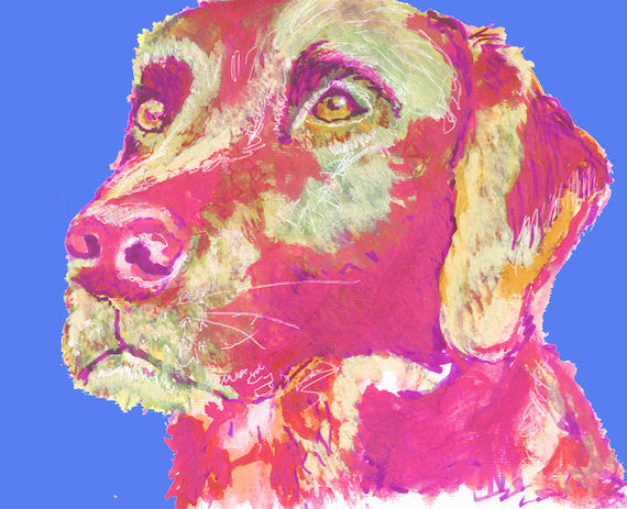 Labrador wall art, Lab Painting,Lab art print, Lab mom gift, Labrador portrait, Colorful Lab Print, Lab dog picture, Lab owner gift - Dog portraits by Oscar Jetson