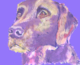 Labrador retriever Dog Painting Poster Print watercolor,acrylic painting print Purple Blue expressive style dog Lab print - Dog portraits by Oscar Jetson
