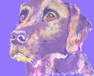 Labrador wall art print Violet ,Cream, Pink lab dog gift labrador dog painting art print - Dog portraits by Oscar Jetson