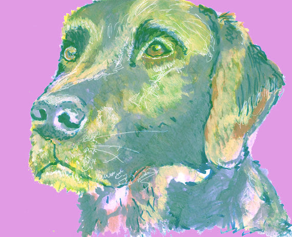 Labrador Dog Print of Original painting Purple/Cream expressive style labrador art poster print - Dog portraits by Oscar Jetson