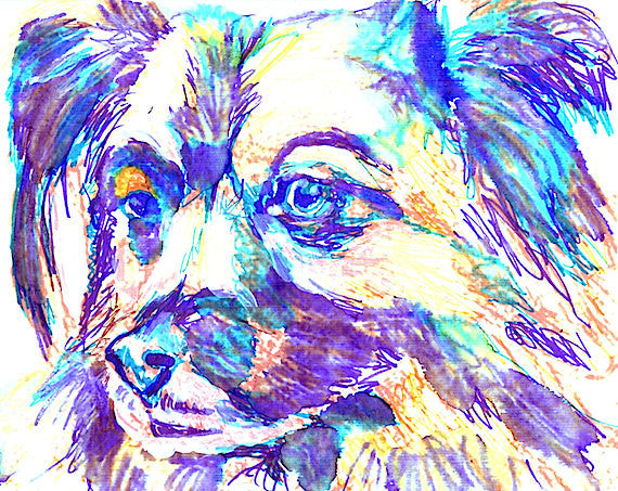 Papillon Dog Painting, Print of Original Art 29.7 x 42.0cm, 11.69 x 16.53 inches Funky Papillon colourful Papillon dog art-holiday gift idea - Dog portraits by Oscar Jetson