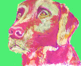 Labrador art print Dog Painting wall art Print home decor, Magenta Purple, Pink  Labrador gift idea dog print Abstract Labrador - Dog portraits by Oscar Jetson