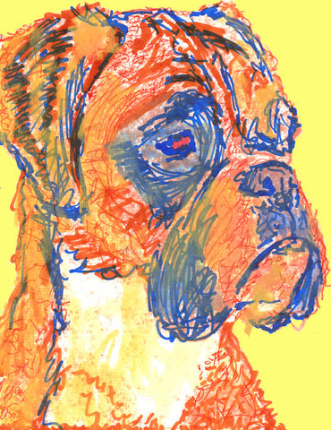 Boxer Dog Painting wallart Print of Original painting Yellow Background Boxer dog gift idea - Dog portraits by Oscar Jetson