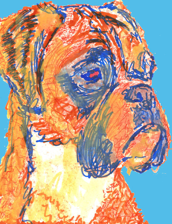 Boxer Dog Canvas Print, dog painting, Light Blue , Orange, Expressive Boxer dog breed , canvas wall art print, Boxer owner gift idea - Dog portraits by Oscar Jetson