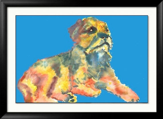 Border terrier painting poster print hand signed Blue yellow orange dog wall art - Dog portraits by Oscar Jetson
