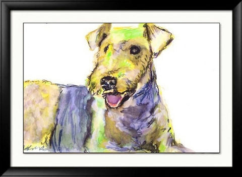 Airedale terrier fine art poster print Colorful giclee Print from an original Acrylic and Watercolour Painting - Dog portraits by Oscar Jetson