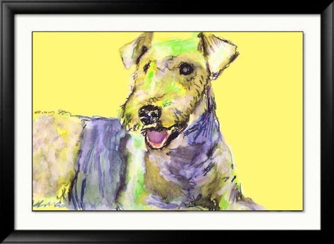 Airedale terrier print from an original Acrylic and Watercolor Painting signed dog print - Dog portraits by Oscar Jetson