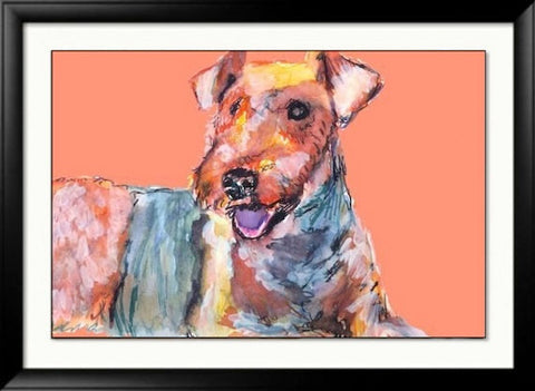 Airedale terrier Print, Colorful dog wall art in Peach and Orange tones. Watercolor art print, Airedale dog gift, Airedale terrier picture. - Dog portraits by Oscar Jetson