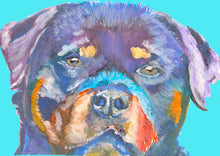 Load image into Gallery viewer, Rottweiler pet Portrait Colourful blue Print from an original Acrylic and Watercolour Painting, Rottweiler by Oscar Jetson 8.3 x 11.7 inches - Dog portraits by Oscar Jetson