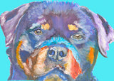 Rottweiler dog Portrait print, Electric blue, Cyan Rottweiler Print from acrylic Watercolor Painting, Rottie gift. Rottweiler wall art blue - Dog portraits by Oscar Jetson