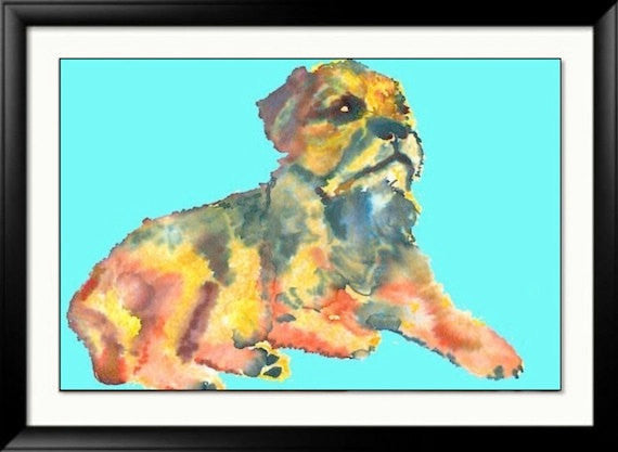 Border terrier art Print Sky blue orange from an original Painting, dog art  by Oscar Jetson - Dog portraits by Oscar Jetson