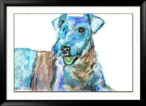 Airedale terrier painting art poster print Colorful Blue Watercolor print hand signed - Dog portraits by Oscar Jetson
