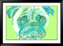 Load image into Gallery viewer, Pug Painting  Portrait art LARGE print from  Original Artist Signed Colourful Green Pug Art  Watercolour and Acrylic-holiday gift idea - Dog portraits by Oscar Jetson