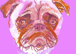 Pug Painting  Portrait art print from  Original Artist Signed Pink sad Pug Art  Watercolour and Acrylic-holiday gift idea - Dog portraits by Oscar Jetson