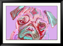 Load image into Gallery viewer, Pug wall art print, Pink pug gift ideas,unique pug gift,pug gift for her, pug lover gift, pug dog wall art,pug art gift, colorful pug print - Dog portraits by Oscar Jetson