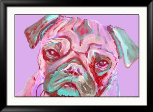 Pug wall art print, Pink pug gift ideas,unique pug gift,pug gift for her, pug lover gift, pug dog wall art,pug art gift, colorful pug print - Dog portraits by Oscar Jetson