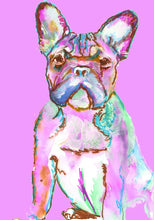 Load image into Gallery viewer, PINK French Bulldog CANVAS Print from Original Frenchie Dog painting, Pink home decor, French bulldog gift idea - Dog portraits by Oscar Jetson
