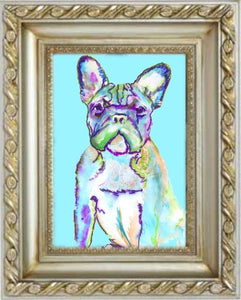 French Bulldog Art Print ,Aqua marine Frenchie Dog Art, Gift idea for French bulldog owner, Dog painting art print, blue dog watercolor art - Dog portraits by Oscar Jetson