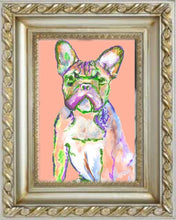 Load image into Gallery viewer, French Bulldog painting,art Print ,tangerine, peach frowning french bulldog, home decor frenchie art print, cute french bulldog art print - Dog portraits by Oscar Jetson