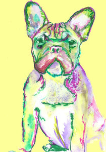 French Bulldog Print from Original Artist Signed Frenchie Dog Canine Art Yellow - canine gift idea - Dog portraits by Oscar Jetson
