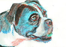 Load image into Gallery viewer, Boxer Dog Painting poster print Portrait Watercolor Boxer Dog signed Boxer dog art gift idea - Dog portraits by Oscar Jetson
