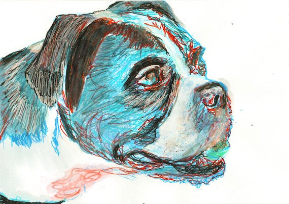 Boxer Dog Painting poster print Portrait Watercolor Boxer Dog signed Boxer dog art gift idea - Dog portraits by Oscar Jetson