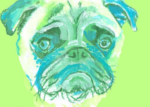 Pug Painting  Portrait art LARGE print from  Original Artist Signed Colourful Green Pug Art  Watercolour and Acrylic-holiday gift idea - Dog portraits by Oscar Jetson