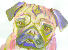 Load image into Gallery viewer, Pug print Pink Lime and lilac Pug Portrait  from Original Artist Signed Colourful sad Pug Watercolour and Acrylic - thoughtful gift idea - Dog portraits by Oscar Jetson