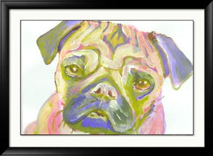 Pug print Pink Lime and lilac Pug Portrait  from Original Artist Signed Colourful sad Pug Watercolour and Acrylic - thoughtful gift idea - Dog portraits by Oscar Jetson