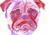 Pug art print, Purple pink and red, Colorful sad Pug Art  8 x 10 Watercolor and Acrylic Pug owner gift idea, dog painting, pug painting, pug - Dog portraits by Oscar Jetson