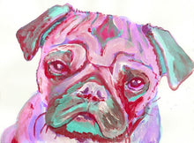 Load image into Gallery viewer, Pug wall art, Pug print, Pink pug painting, Pug mom gift, Pug owner, Pug decor, Pug Portrait, sad Pug Art, colorful pug - Dog portraits by Oscar Jetson