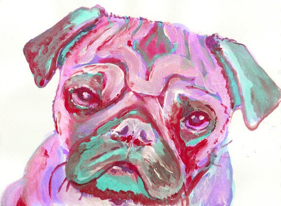 Pug wall art, Pug print, Pink pug painting, Pug mom gift, Pug owner, Pug decor, Pug Portrait, sad Pug Art, colorful pug - Dog portraits by Oscar Jetson