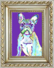 Load image into Gallery viewer, French Bulldog Dog Painting Purple, French Bulldog Print , watercolor art  print Frenchie Dog Art french bulldog gift idea frenchy art print - Dog portraits by Oscar Jetson