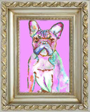 Load image into Gallery viewer, French Bulldog France Bulldog art print from Original hand Signed Frenchie Dog - french buldog gift idea Pink  french bulldog print - Dog portraits by Oscar Jetson