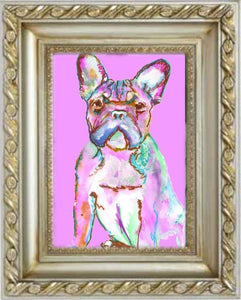 PINK French Bulldog CANVAS Print from Original Frenchie Dog painting, Pink home decor, French bulldog gift idea - Dog portraits by Oscar Jetson