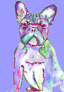 French Bulldog art Print, French Bulldog Painting, Dog Portrait, Bulldog Frances art, Gift for French Bulldog owner, colorful dog picture - Dog portraits by Oscar Jetson