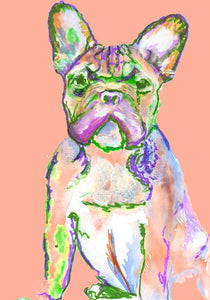 French bulldog decor, Gift for frenchie owner, frenchie mom,Canvas art print in Pink, Peach.  Frenchie,Dog loss gift, Frenchie gift idea - Dog portraits by Oscar Jetson