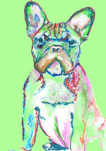 Load image into Gallery viewer, French Bulldog art print, illustration, Green home decor, Frenchie dog,Watercolor,Acrylic French bull gift idea art print - Dog portraits by Oscar Jetson