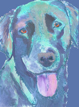 Load image into Gallery viewer, Labrador dog art print Colorful abstract aqua marine dog portrait Aquamarine, dog painting, home decor,doglover gift idea Blue Labrador - Dog portraits by Oscar Jetson