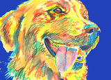 Golden Retriever art Print from original watercolor painting hand signed Yellow navy blue Lab dog gift - Dog portraits by Oscar Jetson