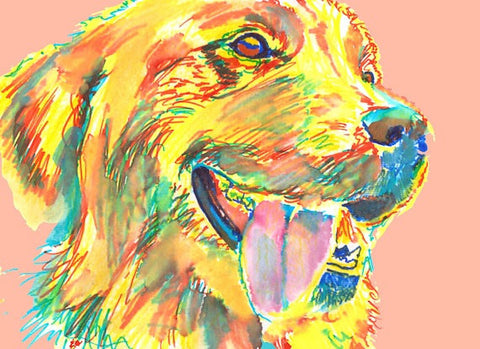 Golden Retriever Painting, art print, yellow golden retriever,Yellow Peach Retriever,Gift for Golden retriever owner, dog painting art print - Dog portraits by Oscar Jetson