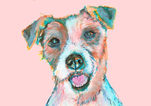 Load image into Gallery viewer, Jack Russell art print, Colorful dog watercolor and acrylic portrait, Animal art, home decor Pink, Turquoise, topaz Jack Russell owner gift - Dog portraits by Oscar Jetson