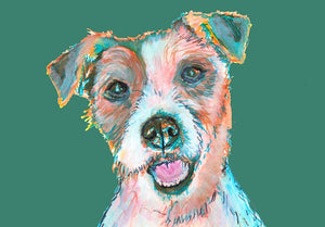Jack Russell Terrier painting print,Jack Russell owner gift idea,Green,Turquoise picture of JRT,Colorful Jack Russell Dog painting art print - Dog portraits by Oscar Jetson