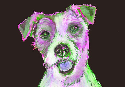 Jack Russell dog Painting, JRT dog Print,colorful dog painting, Dog portrait, JRT wall art, Jack Russell Picture,Gift for Jack Russell owner - Dog portraits by Oscar Jetson
