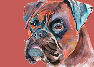 Boxer Dog painting art print brindle boxer dog illustration Orange brown aqua marine dog art print boxer gift idea - Dog portraits by Oscar Jetson