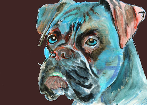 Boxer Dog Painting poster print Blue abstract hand signed boxer dog painting print - Boxer dog gift idea - Dog portraits by Oscar Jetson