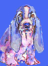 Load image into Gallery viewer, Basset Hound art print dog painting, puppy, cute, Blue purple home decor, hand signed watercolor acrylic basset hound dog - Dog portraits by Oscar Jetson