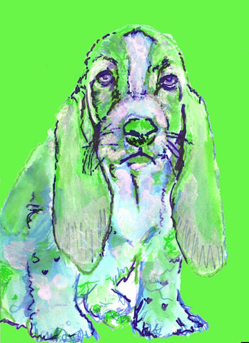 Basset Hound print wall art hand signed colorful Green dog portrait by Oscar Jetson - Dog portraits by Oscar Jetson